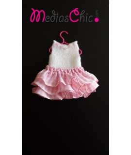 Broche de fieltro vestido volantes rosa