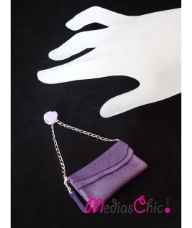 Broche de piel bolsito modelo cartera lila