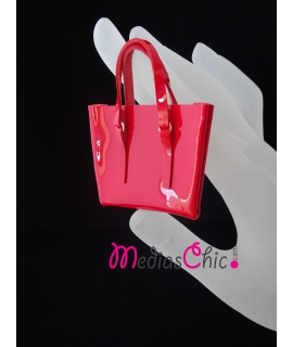 Broche de piel bolsito modelo charol rojo