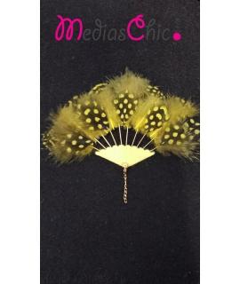 Broche abanico chapado en oro 14 K con pluma amarilla