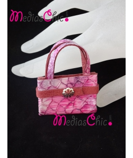 Broche de piel bolsito mod. serpiente rosa asa