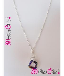 Collar hecho a mano en plata de ley 925 y cristal Swarosvki modelo Arco iris